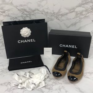 Authentic Chanel Gold & Black Ballet Flats + Box